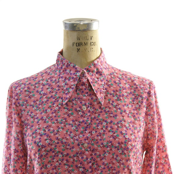 70s Liberty Floral Print Pointy Collar Button Up Shirt