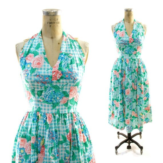 70s Halter Dress in Floral Cotton