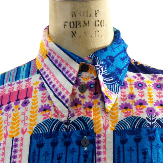 70s Psychedelic Floral Print Pointy Collar Button Up Shirt
