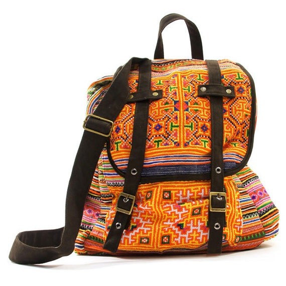 Embroidered Backpack made from Upcycled Hmong Cotton Dresses