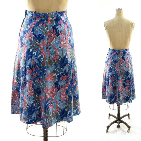 Reserved 70s Floral Printed Linen Aline Skirt