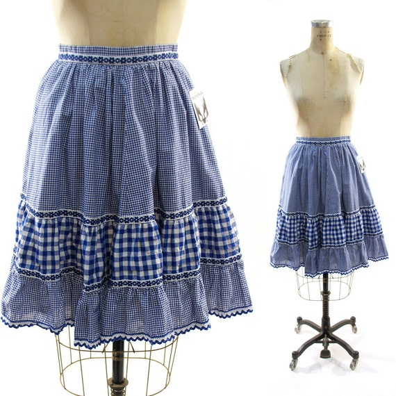 70s German Gingham Tiered Circle Skirt