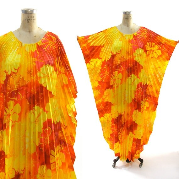 70s Epic Caftan with Radiating Knife Pleats from Collar to Hem