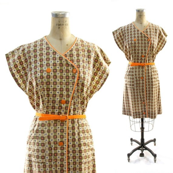 40s Cotton Print Day Dress in Creme & Chocolate