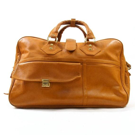 70s HUGE Weekender Carry On Bag in Whiskey Brown Vinyl