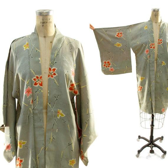 50s Haori Kimono with Apple Blossom Pattern