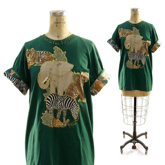 80s Glitter Safari Animals Hand Embellished T-Shirt OMG