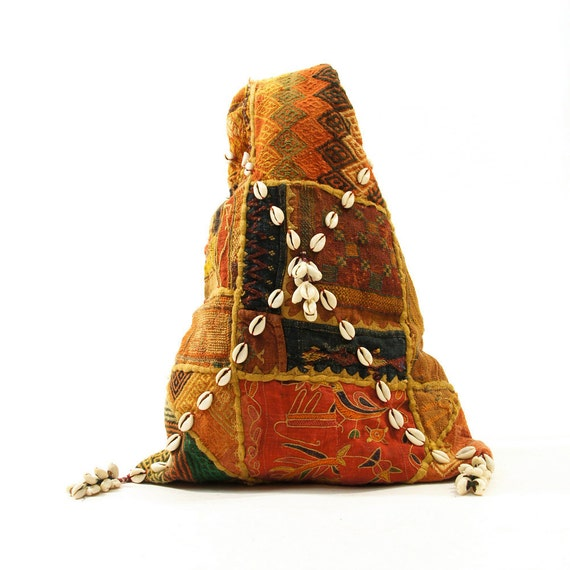 Nepalese Tapestry Patchwork Cowrie Shell Backpack