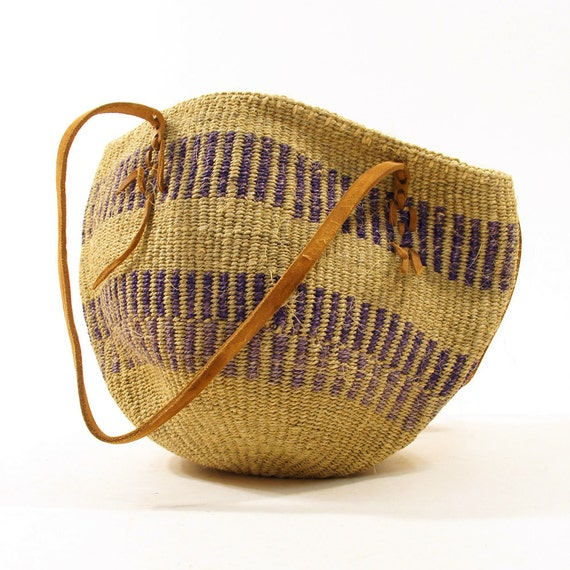 80s Woven Sisal Market Tote / Natural & Amethyst