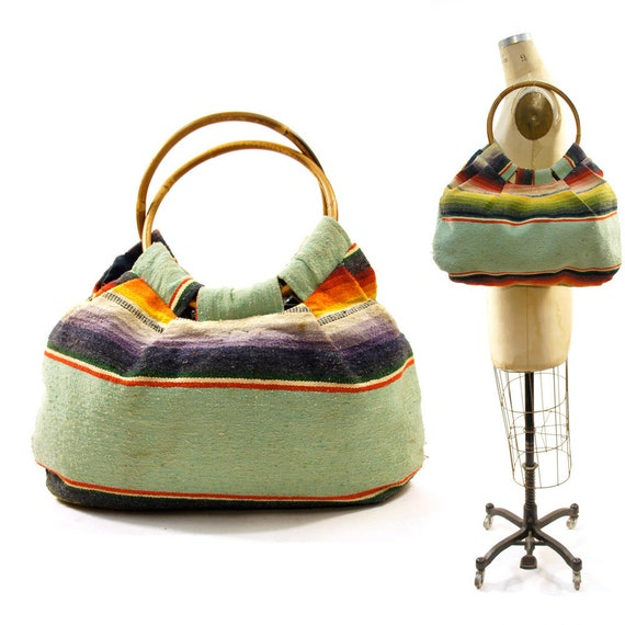 Southwest Serape Bag with Bamboo Handles