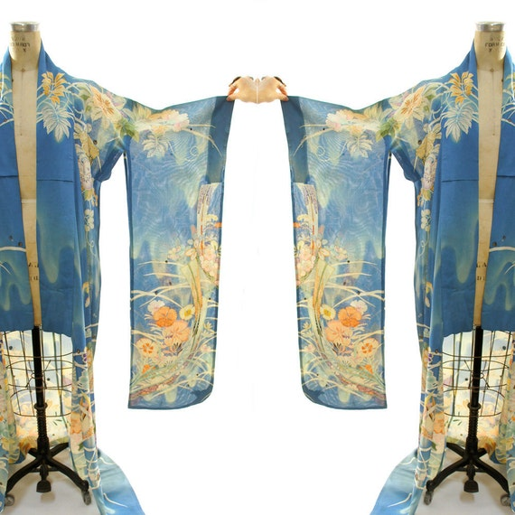 1930s Furisode Kimono with Extra Long Sleeves / Sheer Floral Pattern