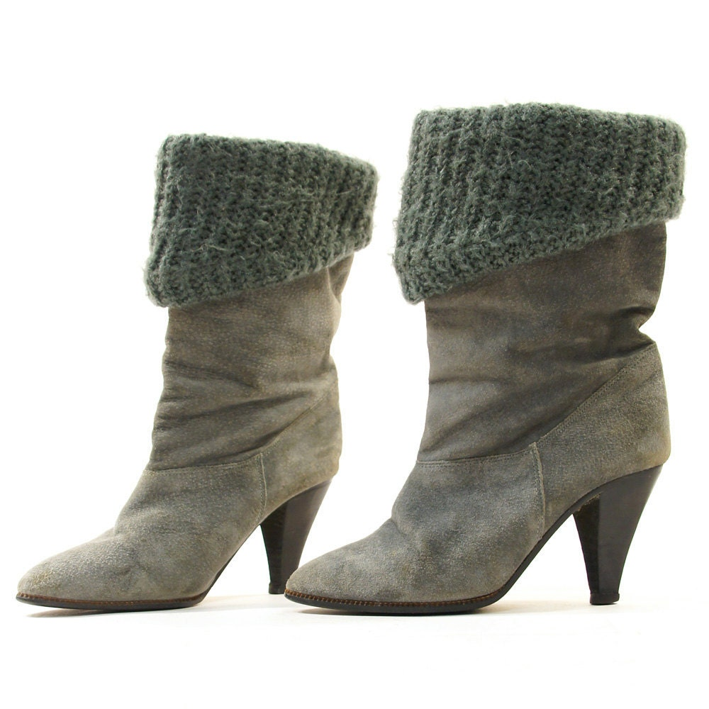 sale sz 6 5 gray suede pirate boots with big knitted fold