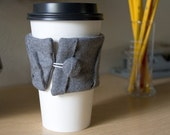 Coffee Sleeve-random fold gray wool