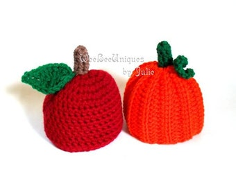 newborn twin hats photography prop apple and pumpkin beanie caps Fall Harvest photo prop
