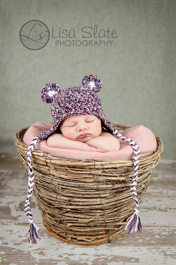 newborn hat photography prop teddy bear ear flap beanie cap