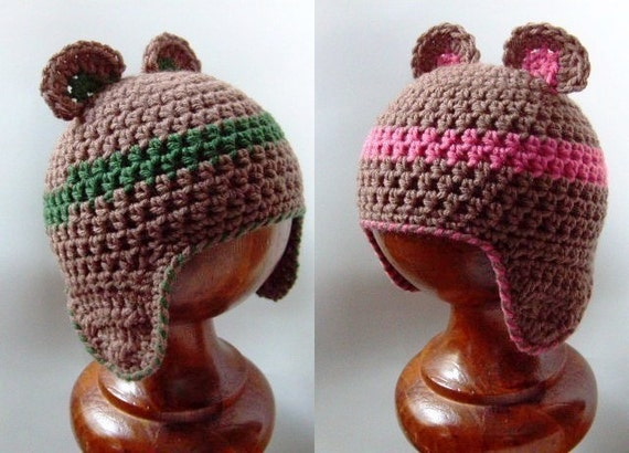 PDF crochet pattern...baby bear beanie earflap cap sizes