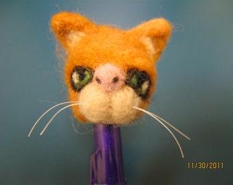 OOAK needle felted kitty pen topper - great stocking stuffer
