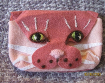 Handmade felted cat glasses case