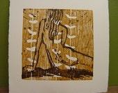 abstract female study II (original woodcut artist proof)