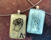 Initial necklace, Sign Language, ASL,  Customizable resin pendant necklace