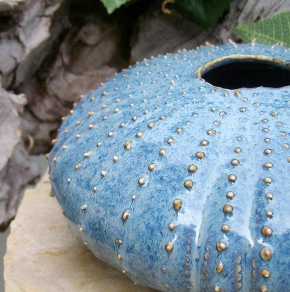 Stormy Blue Sea Urchin Ikebana Pot Flower Vase Handmade