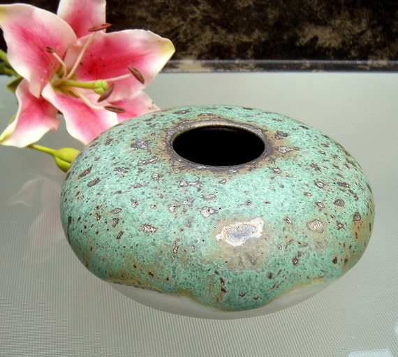round Ikebana vase with flower frog pin frog - kenzen in roasted bronze green studio art pottery by Earth N Elements Pottery