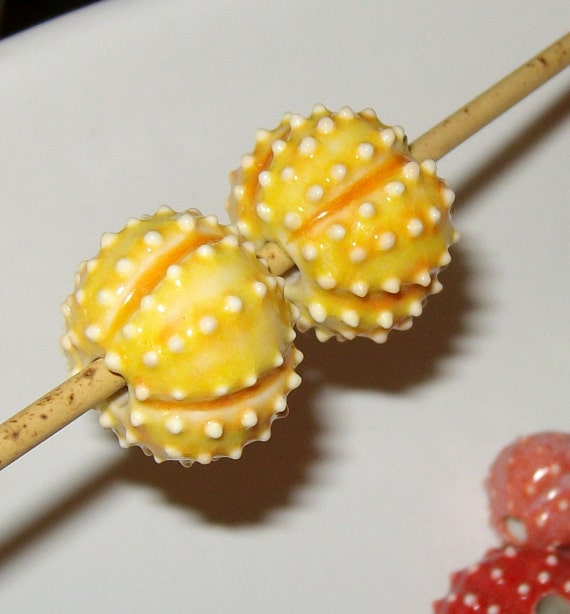 handmade sea urchin beads - 2 yellow orange for necklace or jewelry creations porcelain ceramic - by Earth N Elements Pottery