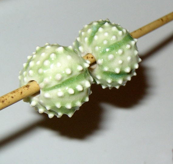2 lime green Sea Urchin porcelain beads for necklace or jewelry creations - by Earth N Elements Pottery