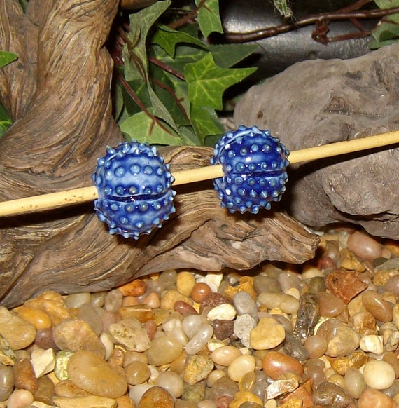 2 navy blue Sea Urchin porcelain beads for necklace or jewelry creations - by Earth N Elements Pottery