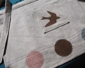 cotton apron, bird and circles