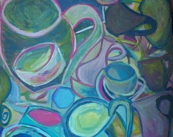 "Original acrylic painting on canvas, ""Vessels"""
