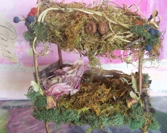 """Fairy Furniture, """"The Forest Elf's Dream Bed"""", beautiful canopy bed made from moss, twigs, pods"""