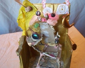 """Fairy Furniture, """"Storybook Fairy Throne"""", natural and found materials, 6"""" tall, poem on back"""