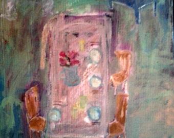 "Beautiful original Painting, ""Beautiful Summer Day"", pretty pastel colors, interior room scene, very Shabby Chic, lovely inspiring art!"