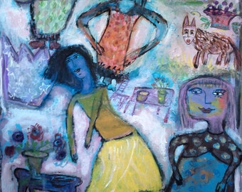 """Print of original painting, """"Dancing Friends"""", 8"""" x 10"""" color print on archival photo paper, ready to frame"""