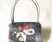 Retro Abstract - 5 -  Bark cloth and Vinyl Handbag - One of a Kind