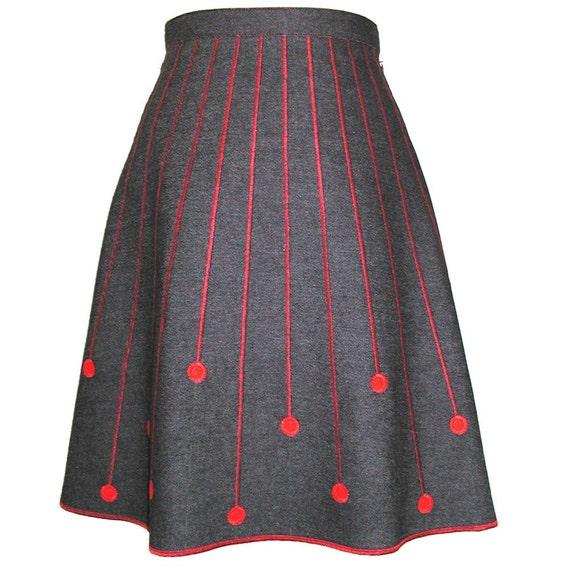 Reserved for Sunnybuick-Red Meteors on Denim - Skirt