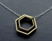Paired Hexagons Silver and Brass Contrast Necklace