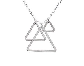 Shiny Silver Pyramids and Diamonds Necklace