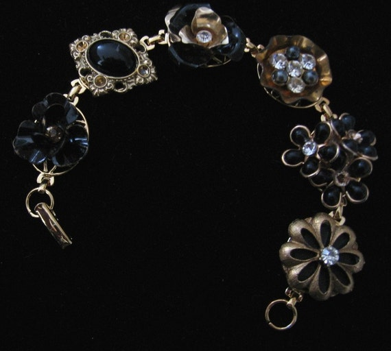 Golden and Black Collage Bracelet  -- rescued jewelry parts with rhinestones