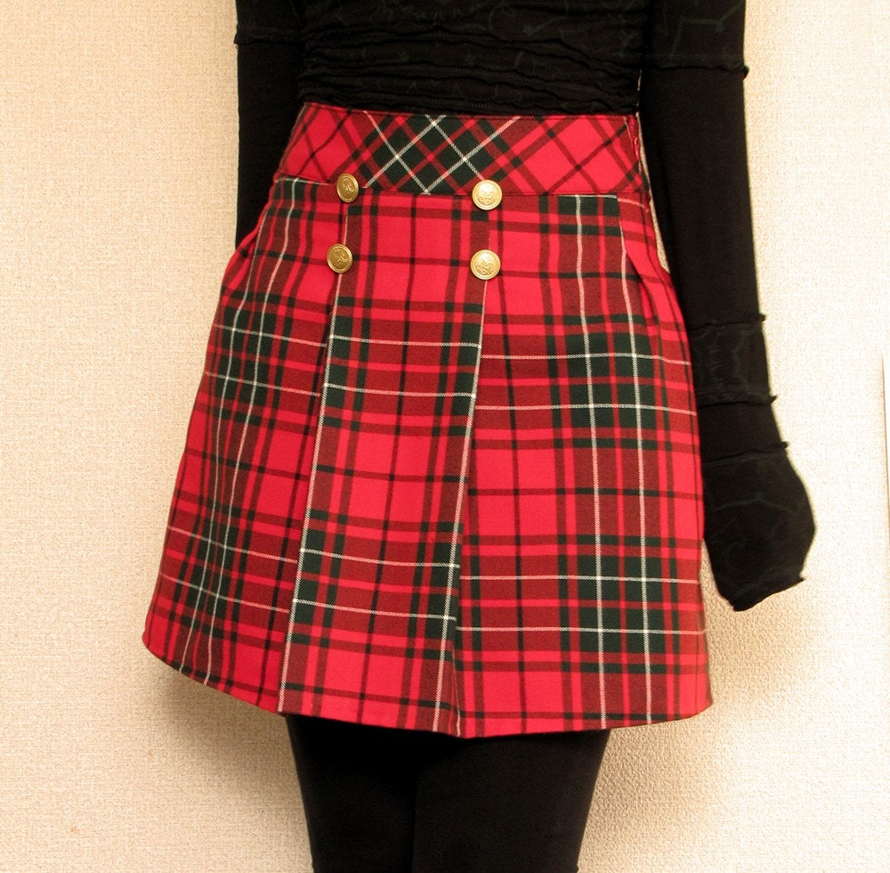 Plaid Red Skirt 30
