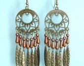 Dangling Antiqued Bronze Floral Chandelier Brown Earrings Free Shipping