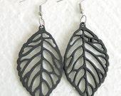 Wood Black Leaf Earrings