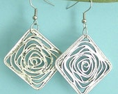 Antiqued Siler Color Square Rose Earrings