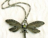 Antiqued Brass Dragonfly Pendant Long Necklace