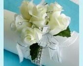 Off White Roses Corsage Rhinestones Bracelet  Wristlet