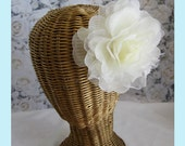 Ivory Silk and Sheer Rose Flower Hair Clips And Brooch