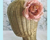 Mauve Antiqued Pink  Rose  Hair Clip And Brooch