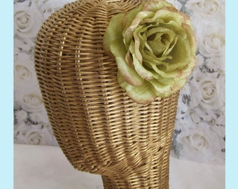 Antiqued Green Rose  Hair Clip And Brooch