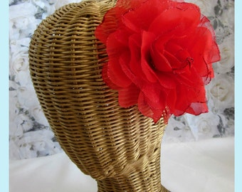 Red Silk and Sheer Rose Flower Hair Clips And Brooch